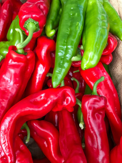 Farmers Market Abundance Backgrounds Close-up Day Food Food And Drink Freshness Full Frame Green Chili Pepper Green Color Healthy Eating High Angle View Indoors  Large Group Of Objects Market No People Pepper Red Red Bell Pepper Spice Still Life Vegetable
