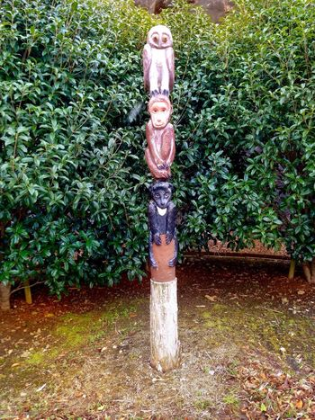 Totem Pole Totem Animal Totem Art Plant Growth Green Color Outdoors Standing Grass Nature Tree Leaf No People Day Low Section (null)Saikai City Japan