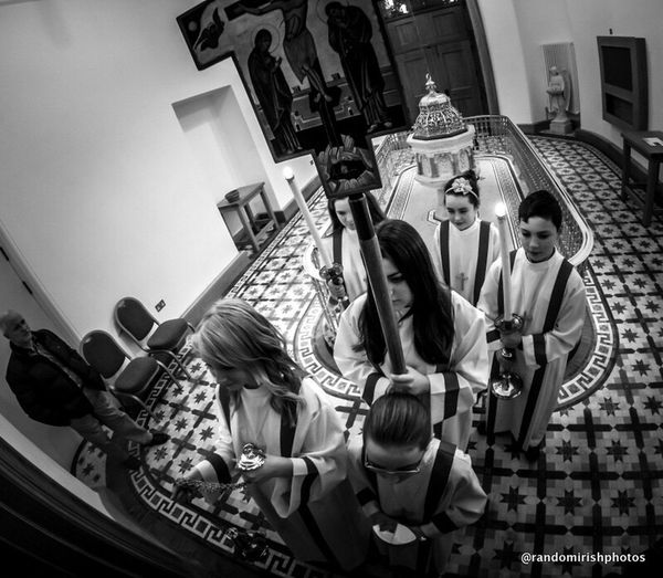 Alter boys and girls about to process out for start of first mass at St Mel's since the cathedral in Co Longford was gutted by fire five years ago. Ireland Church Eye4black&white  GoPro Hero3+ EE_Daily: Black And White Mono Chrome