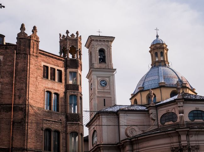 Turin architecture Italy Torino Turin Religion Architecture Built Structure Spirituality Place Of Worship History Sky Low Angle View Cloud - Sky Outdoors Clock Tower City Day