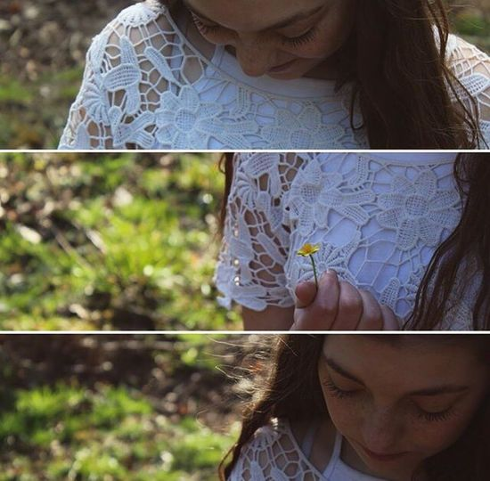 Collage Girl Friend Flower Yellow Indie Boho Floral Hair Long Hair Brunette Freckles Helovesmehelovesmenot Helovesmenot Holding One Person Close-up Outdoors Nature Day