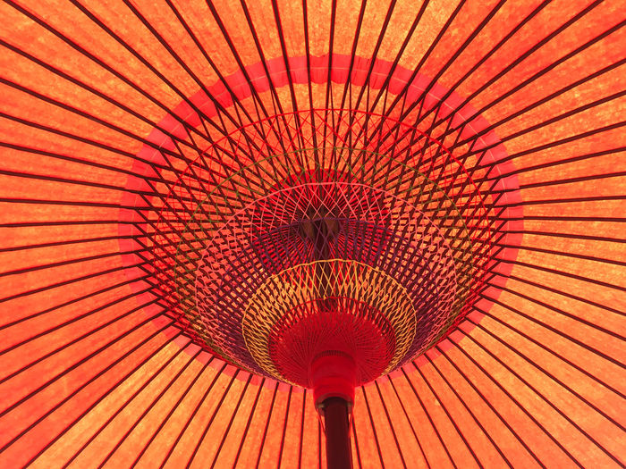 Low angle view of a traditional japanese paper umbrella