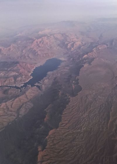 Reservoir in a red valley. Red Rocks  Drainage River System Vertical Valley Physical Geography Geology Reservoir Aerial View Landscape Nature Beauty In Nature Outdoors Tranquil Scene Scenics Mountain