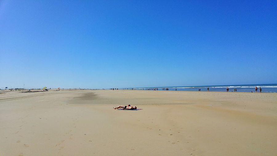 Andalucia Spain Cadiz Atlantic Ocean Tranquilidad Holiday Vacaciones Playa Mar SPAIN Summer Tranquility Seaside Sea And Sky Sea Big Beach Tomando Sol Taking Sun Man Sand Europe