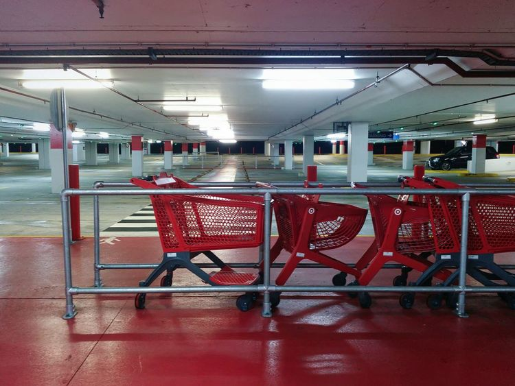 Urban Red Built Structure Indoors  Parking Lot Garage Parking Garage Shopping Cart Urban Photography Urban Exploration
