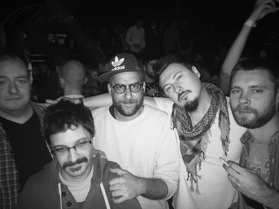 ZSSRPP Crew at Opera Club, Zagreb, Croatia, 2016. Sketchesfromthenightlife Club Clubbing Party Concert Documentary Photojournalism Lifestyles Leisure Activity Beard Men Togetherness Friendship Fan - Enthusiast Crowd Nightlife