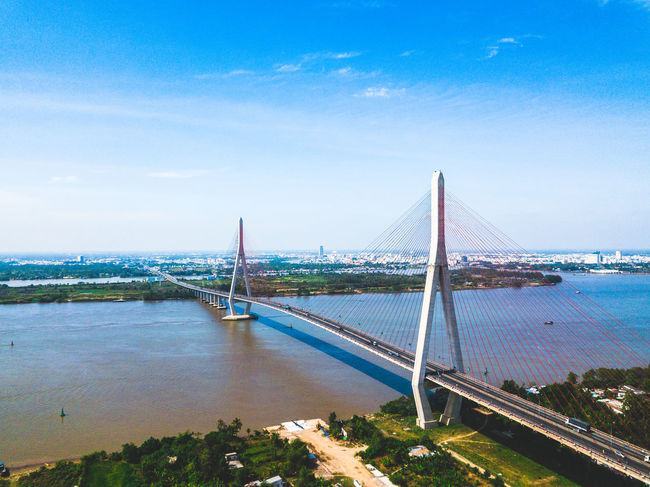 DJI X Eyeem Drone  Architecture Bridge - Man Made Structure Built Structure Chain Bridge City Cityscape Connection Day Dronephotography Nature No People Outdoors River Sky Skypixel Suspension Bridge Transportation Travel Destinations Tree Water