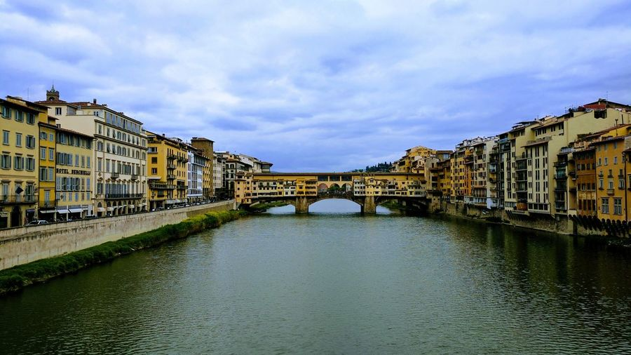 Architecture Built Structure Building Exterior Bridge - Man Made Structure Travel Destinations River Old Town Cloud - Sky History Water Outdoors Sky Vacations Day City Cityscape No People Firenze Bridge EyeEm Best Shots Travel Landscape Vacations Arhitecture Italy