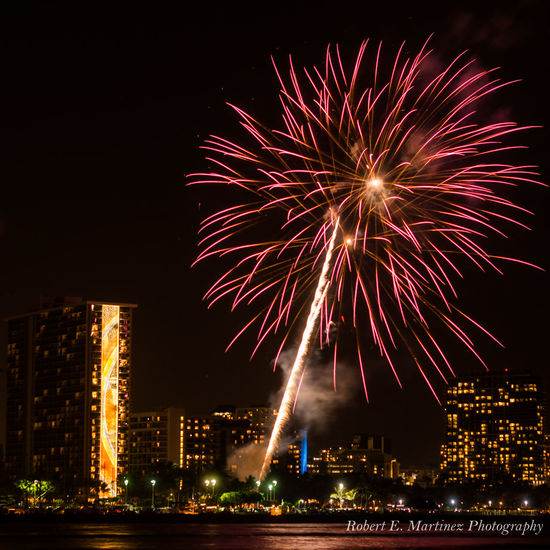 """""""Energy and persistence conquer all things.""""- Benjamin Franklin// always great watching the Friday night fireworks in Waikiki on the island of Oahu The Minimals (less Edit Juxt Photography) Urbanphotography Eye4photography  Night Lights Nightphotography Cityscapes Being A Beach Bum Fireworks"""