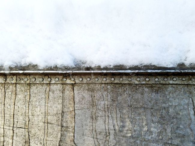 Rivets along the canoe Ice Winter Wintertime Cold Temperature Cold Textured  Textures and Surfaces Metal Sky