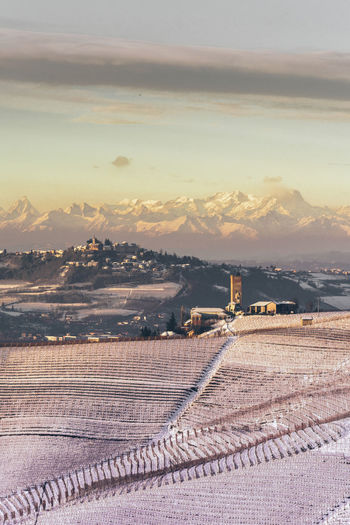 EyeEm Best Shots EyeEm Nature Lover Langhe Mountain View Nature Nature Photography Sky And Clouds Winter Barbaresco Beauty In Nature Beauty In Nature Cloud - Sky Italy Mountain Nature_collection Non-urban Scene Scenics - Nature Sky Snow Sunset Tower Tranquil Scene Tranquility Wineyard Wineyard In Winter