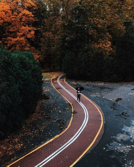 High angle view of woman walking on footpath during autumn