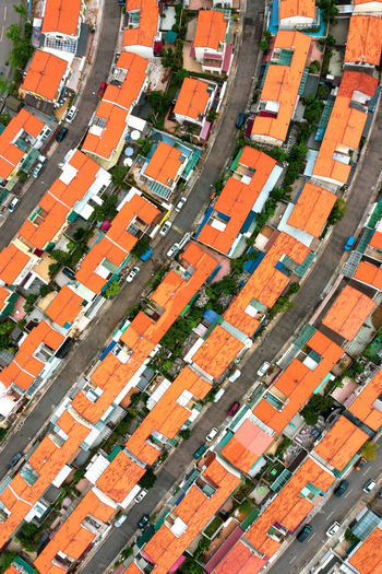 Aerial view of orange roof of houses. Town Design Art House Architecture Cityscape Urban Cityscape Road Street Car Town Multi Colored Backgrounds Full Frame Agriculture Pattern High Angle View Aerial View Orange Color LINE Residential Building Street Scene Residential District Exterior TOWNSCAPE Country House Architectural Design Roadways Housing Settlement