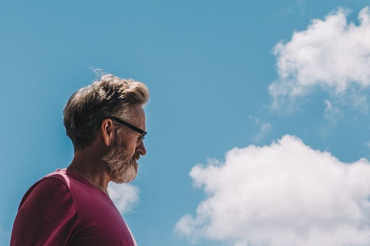 Self-portrait. Beards Of Eyeem Self Portrait Cloud - Sky Sky One Person Glasses Nature Beard Blue Leisure Activity Side View Facial Hair Low Angle View Eyeglasses  Lifestyles Casual Clothing Real People Day Adult Outdoors Looking Profile View The Portraitist - 2019 EyeEm Awards