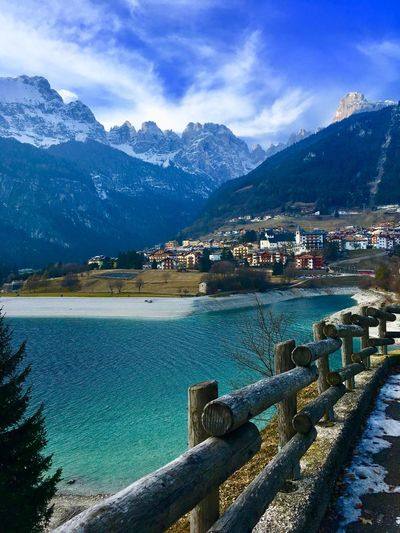 #molveno Lake View Mountain Mountain Range Building Exterior Built Structure Water Sky House Outdoors No People Tranquil Scene