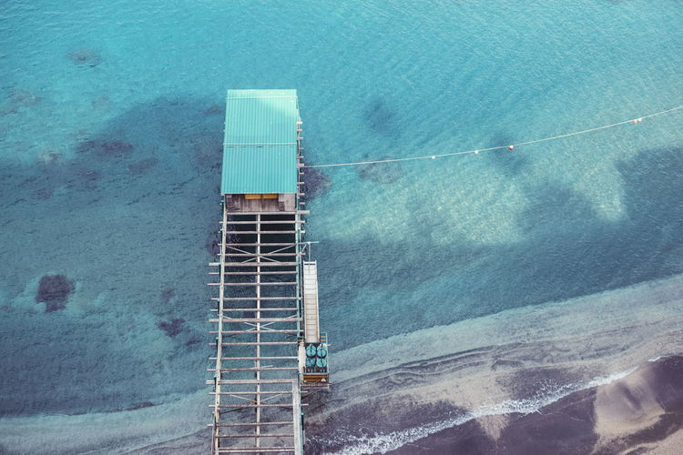 Architecture Beach Blue Built Structure Day High Angle View Ladder Nature Nautical Vessel No People Outdoors Sea Swimming Pool Tranquil Scene Turquoise Colored Water Waterfront Go Higher