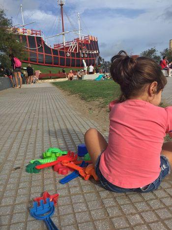 Playa Real People Child Childhood Women Girls Leisure Activity Rear View
