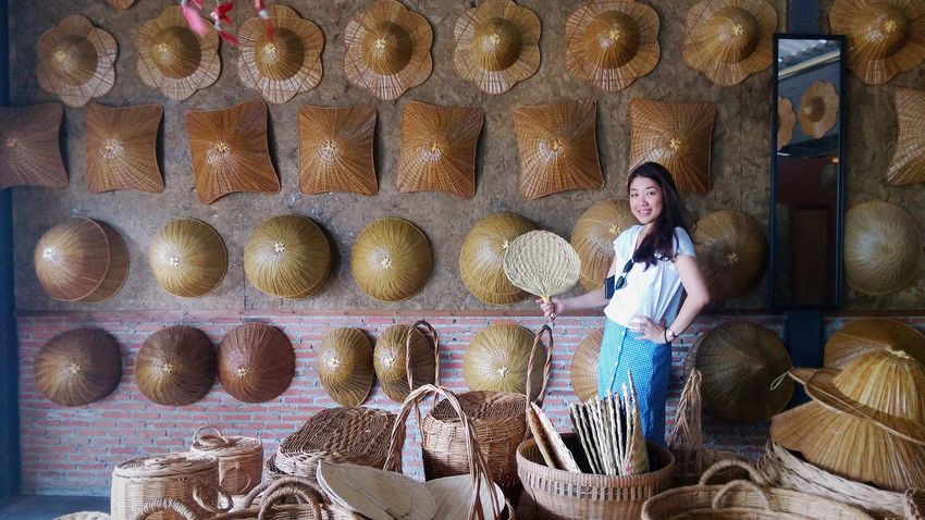 Proud to present local product of Koh Chang, Thailand. Local Products Fun Holiday Sun Hat Handicraft Basket Hat Hats Local Local Product EyeEm Selects Smiling Young Women Full Length Women Pretty Straw Hat