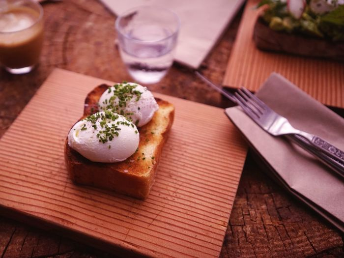 High angle view of poached eggs on toast
