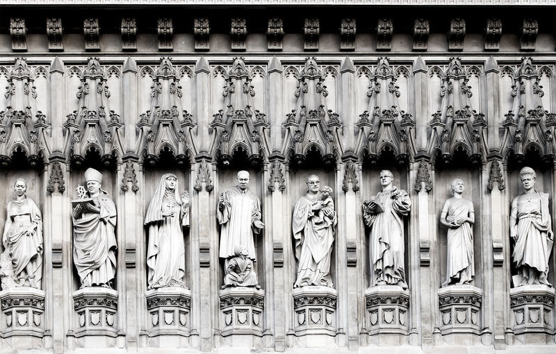 Close-up of westminster abbey sculptures