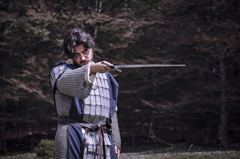 Cinema History Medieval One Person Outdoors Period Costume Sword Theater Warrior - Person