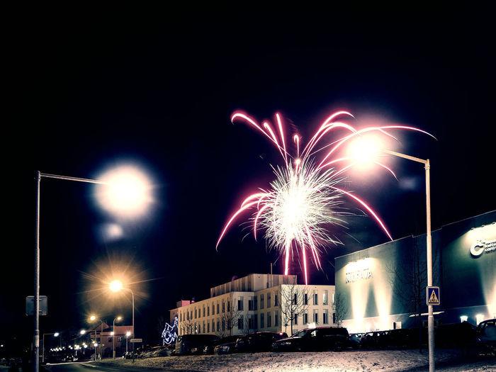 Blurred Motion Building Celebration City Dark Fireworks Lantern NewYear Night Urban