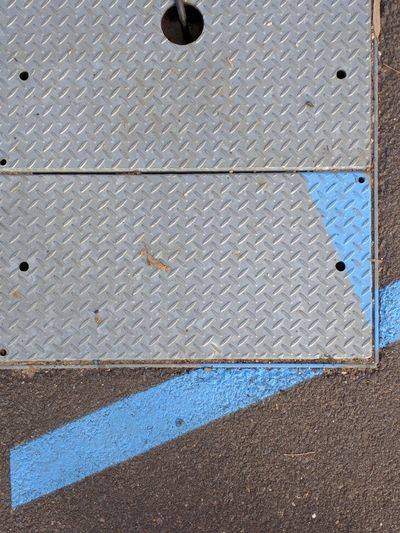 Built Structure Textured  No People Full Frame Close-up Metal Plate Blue Paint LINE Missmatch Chequerplate Floor
