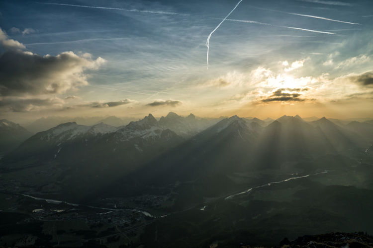 Sunset in the mountains Mountain Cloud - Sky Sky Scenics - Nature Beauty In Nature Tranquil Scene Tranquility Environment Landscape Mountain Range Nature No People Sunset Non-urban Scene Idyllic Outdoors Sunlight Vapor Trail Travel Mountain Peak Alps Tyrol Austria Snow