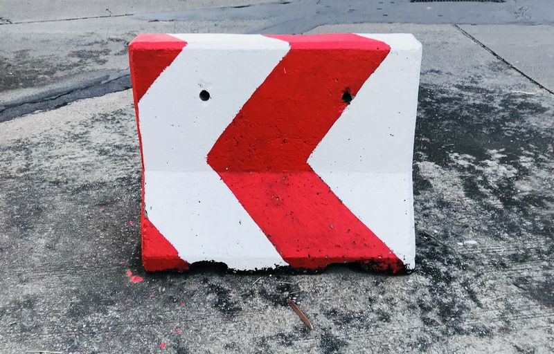 Day No People Outdoors Red Red White Concrete Barrier