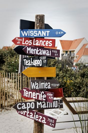 Where to? Nikon Travel France Côte D'Opale Wissant Direction Signs Beach Text Western Script Communication Day Outdoors Close-up No People