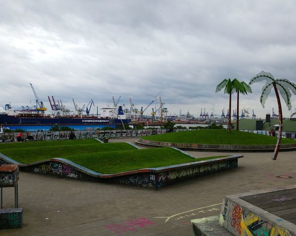 Playground Palm Tree Tree Slide - Play Equipment Cloud - Sky Outdoors City Sky Day Cloudyday Hamburg Habour Hamburger Hafen St.Pauli Landungsbrücken  Graffiti Art Rasen Contrast No People Noonearound Urban Szene Adapted To The City