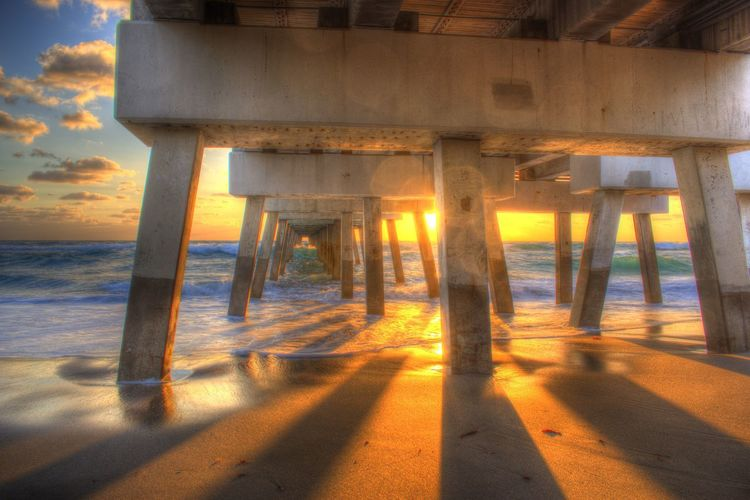 Beach Photography Florida Sunset Juno Beach Florida Architectural Column Architecture Beach Beachphotography Built Structure Day Eye4photography  Florida Florida Life Florida Nature Horizon Over Water Juno Pier Land Nature No People Outdoors Pier Sand Sea Shadow Sky Sunlight Sunset Underneath Water Wood - Material