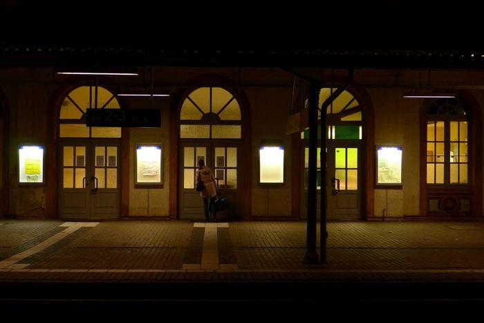 Railway Station Scene Window Indoors  Architecture Night Illuminated