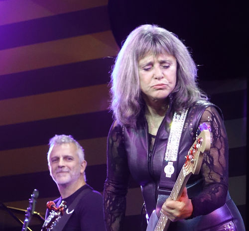 The awesome Suzi Quatro performing live to a huge audience on the MV Magellan cruise ship - Rock the Boat UK 2017 cruise 1960's Rock Group Base Guitar Devil Gate Drive Live On Stage Music Rock The Boat UK 2017 Suzi Quatro Adult Arts Culture And Entertainment Awsome Performance Day Front View Indoors  Leather Clothes Lifestyles Mature Adult Music Musical Instrument Musician People Performance Playing Real People Rock Legend Rock Music Saxophone Skill  Stage Lighting Standing Togetherness Two People Women Young Adult Young Women