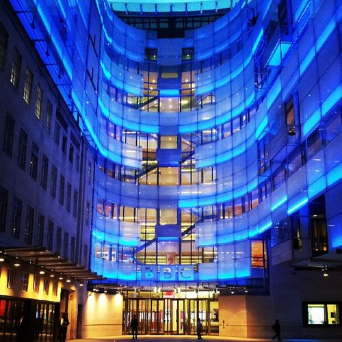 Work sure is pwitty at night ^___^ BBC NewBroadcastingHouse Citylights London