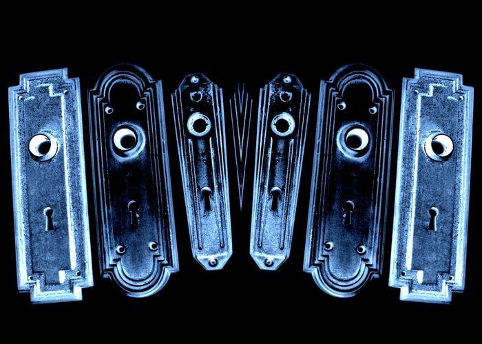 Black Background Black Background Blue Close-up Door Hardware Glow Glow In The Dark Glowing Glowinthedark Hardware Metal No People Studio Shot Vintage Vintage Hardware