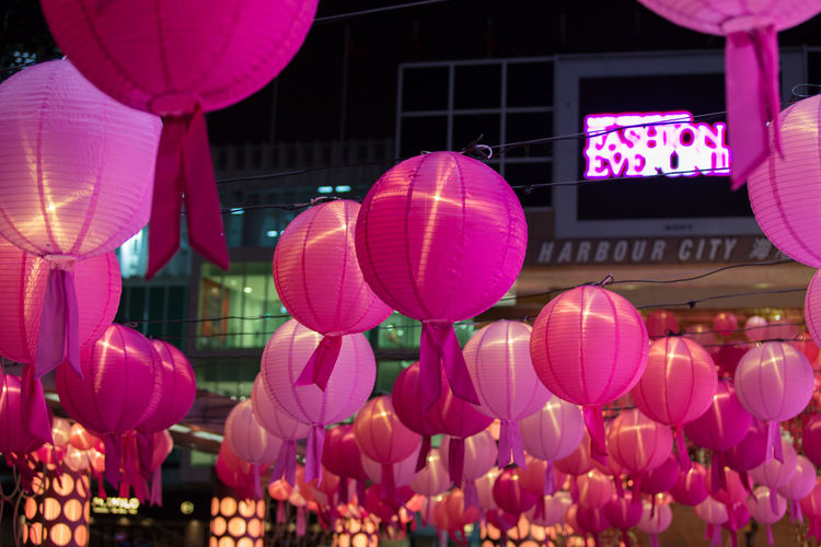 Chinese Lantern in Hong Kong Culture Cultures Decoration Hanging Hong Kong Lantern Low Angle View Mid-air Pink Red Tradition