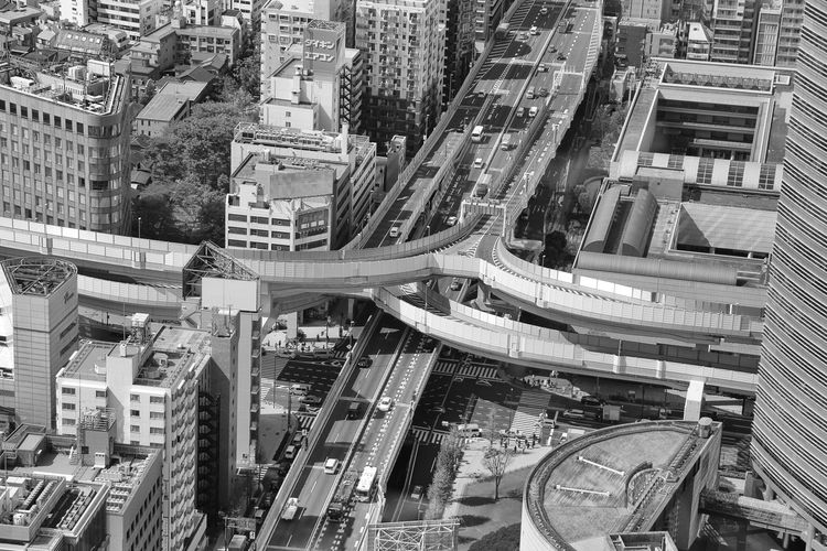 Elevated road amidst cityscape