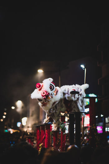 Lion dance Night Illuminated Costume Arts Culture And Entertainment Celebration Representation People Performance Real People Copy Space Lighting Equipment Performing Arts Event Men Three Quarter Length Clown Front View Standing Unrecognizable Person Festival Arms Raised Chinese New Year 2019 Lion Dance