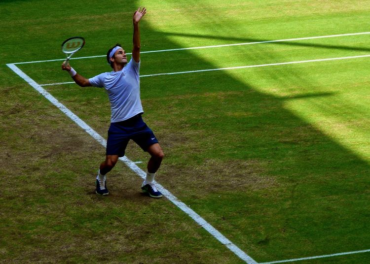 EyeEm Best Shots Full Length Grass Green Green Color Hello World HERO Lawn Lifestyles Maestro  Person Playing Roger Federer Serve Sport Sports Photography Sportsman Taking Photos Tennis Tennis Court Tennis Player The Best The Color Of Sport