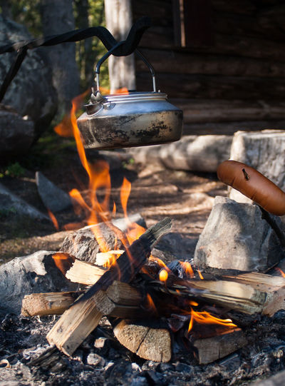 Burning Campfire Coffee Firewood Flame Hiking Lapland, Finland Outdoors Sousage Summer Wild Nature Wilderness
