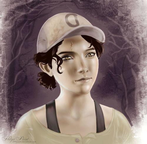1995paint 2017 HelgaPaint Art Blackhair Clemantine Face Fantasy Person Portrait Walkingdead Younggirl