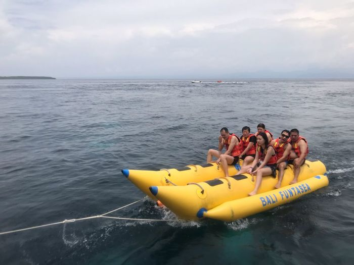 EyeEm Selects Water Sea Group Of People Nautical Vessel Inflatable  Sky Inflatable Raft Life Jacket Transportation Horizon Over Water Lifestyles Men Leisure Activity Horizon Day Group Real People Outdoors