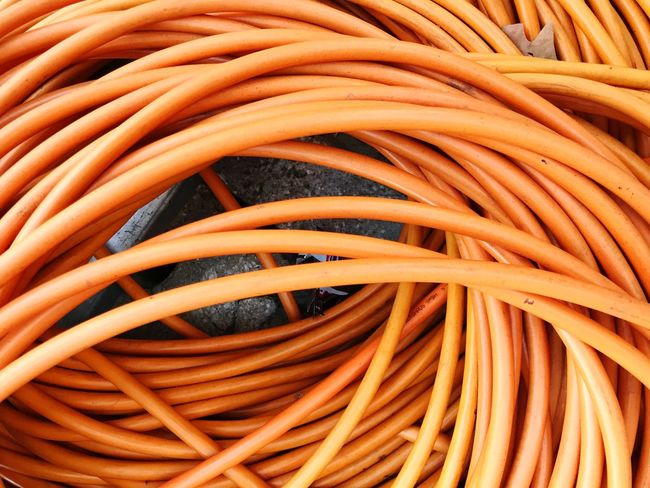 Full Frame Backgrounds Orange Color Close-up No People Connection Still Life Large Group Of Objects Cable Communication Complexity