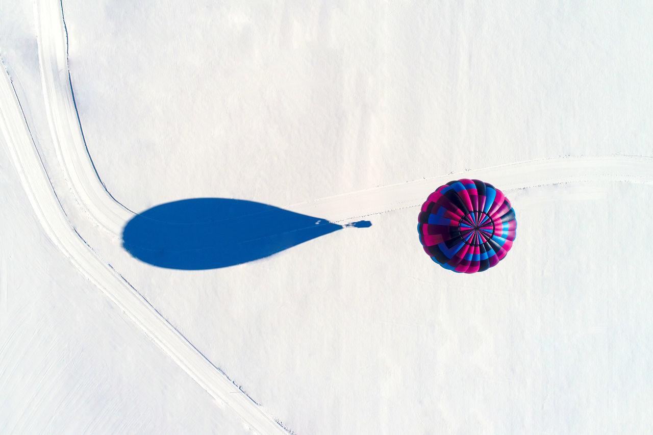 Hot air balloon seen from above