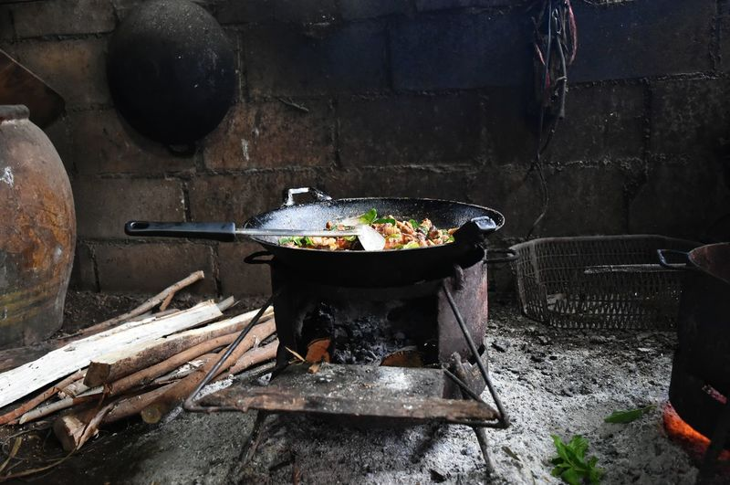 High Angle View Of Food Preparing In Kitchen