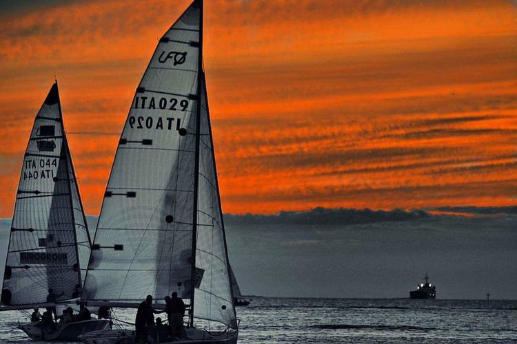 Sunset Sea Orange Color Reflection Dusk Sky Horizon Over Water Nautical Vessel Beach Cloud - Sky Outdoors Water Sailboat Architecture Lighthouse No People Night Nature Sailing Ship Oil Pump