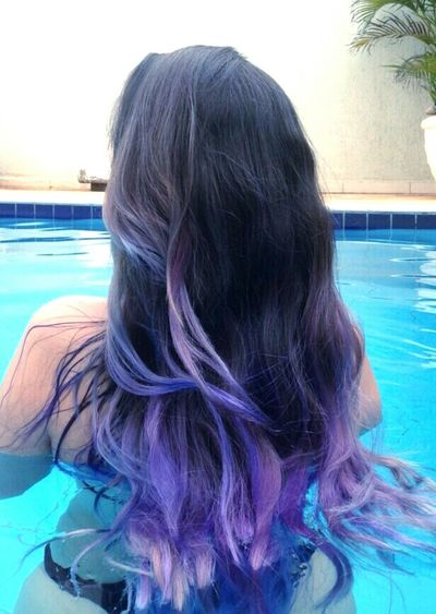 Hair Hairstyle Haircolor Color Explosion Colorful Hair Purple ♥ Mermaid Mermaid Hair Pool Girl Loveit