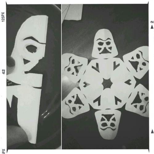 Starwars Snowflakes Darthvader Blackandwhite Snowflakes