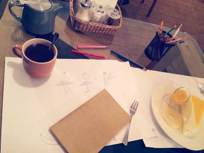Drawing Cheesecake EarlGrey Tea